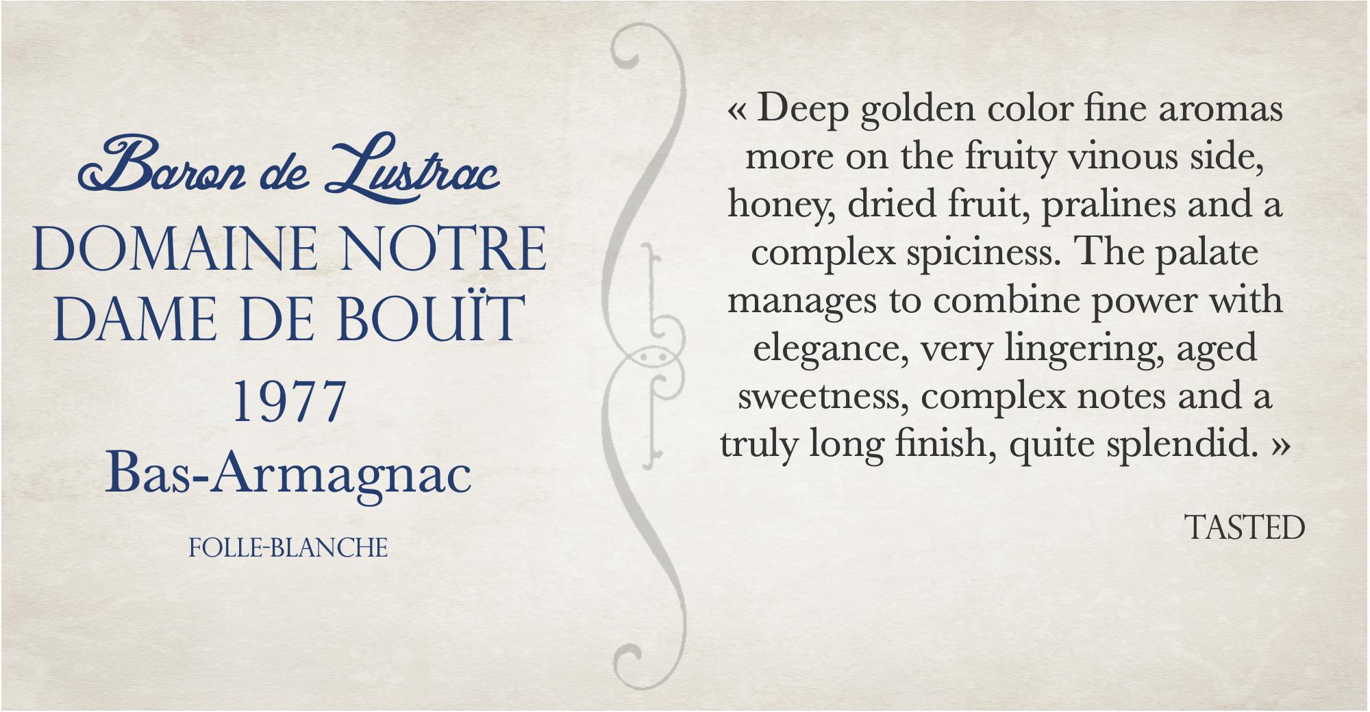 Tasting of bas armagnac 1977 Domaine NOTRE DAME DE BOUÏT by Tasted